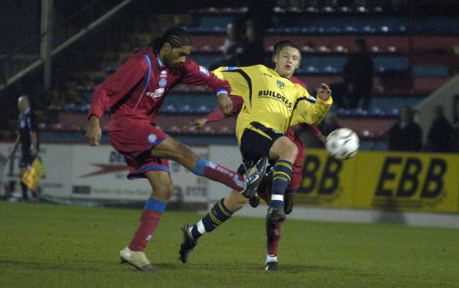 Matty Taylor making his Oxford United debut in a Setanta Shield tie at Aldershot Town in 2007    Picture: David Fleming