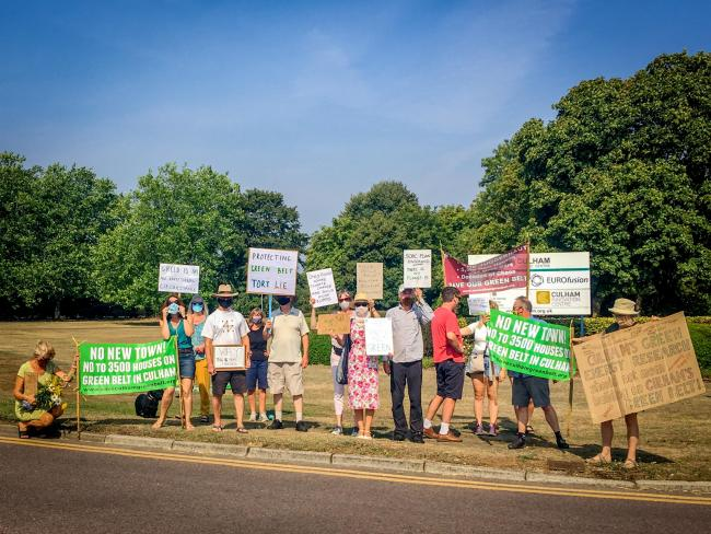 Villagers' protest against thousands of homes which could be built on the doorstep