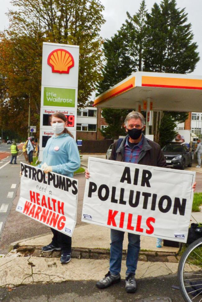Extinction Rebellion (XR) Oxford members stage a protest outside the BP petrol station on London Road, Headington, over the 2020 August Bank Holiday weekend. Picture: XR Oxford