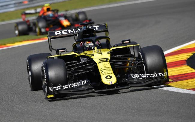 Daniel Ricciardo on the way to finishing fourth in a strong weekend for Enstone's Renault team at the Belgian Grand Prix  	    Picture: John Thys, Pool via AP