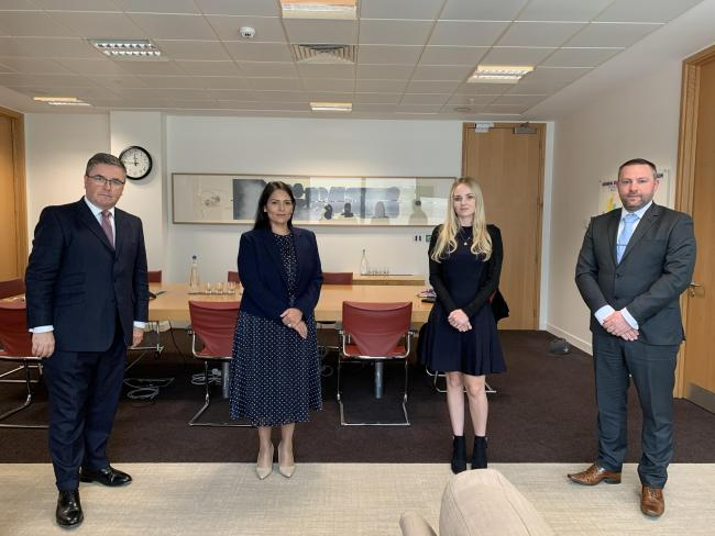 From left: Robert Buckland, Priti Patel, Lissie Harper and Andy Fiddler at the Home Office Picture: Martis Media