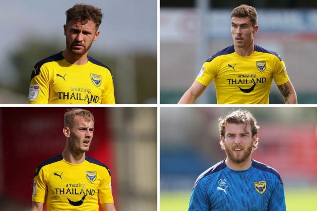 Oxford United's injury concerns (clockwise from top left): Matty Taylor, Josh Ruffels, Sam Winnall, Mark Sykes   Pictures: James Williamson