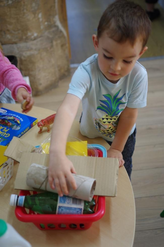 Children at The Old Station Nursery in Faringdon enjoyed sorting through recyclable materials. Picture: The Old Station Nursery