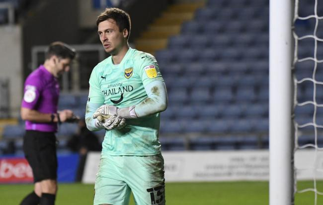 Jack Stevens saved a penalty from Matty Taylor in the first half of the Oxford United squad game   Picture: David Fleming