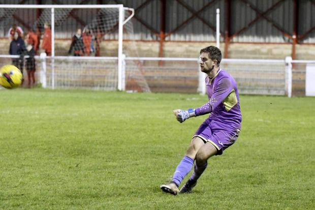 Didcot Town goalkeeper Leigh Bedwell was unable to stop Luke Hayward scoring an own goal in the opening goal at Daventry Town