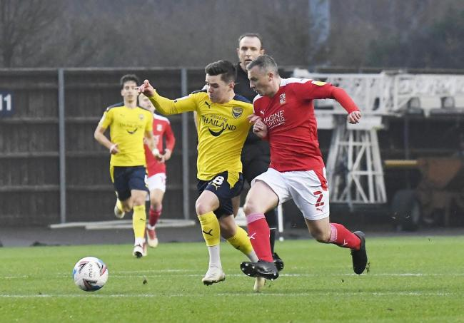 Liam Kelly bursts forward against Swindon Town Picture: David Fleming