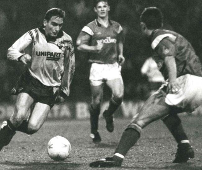 John Durnin scored for the fourth game in a row during Oxford United's 3-1 win at Chelsea in January 1991