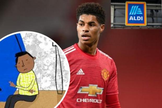 Herald Series: Marcus Rashford has teamed up with Aldo to help tackle child poverty. (PA/Aldi/Canva)