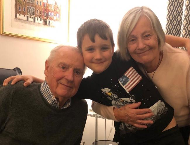 Jude Harrison, nine, with grandad Tony and Grandma Carol, 81.
