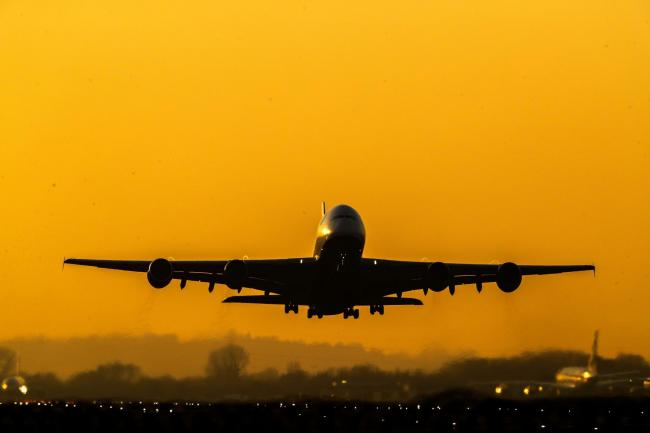 Stock image of an aeroplane taking off