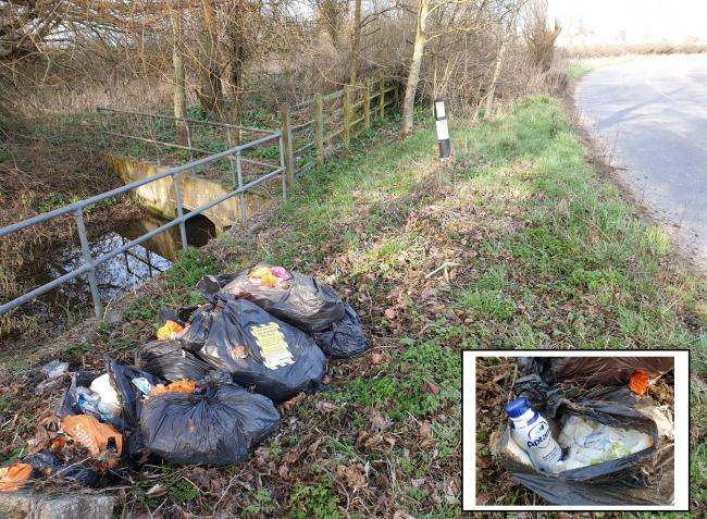 Six bin bags full of used nappies dumped on village road