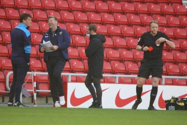 Karl Robinson reacts to being sent off by referee Trevor Kettle at Sunderland Picture: Darrell Fisher