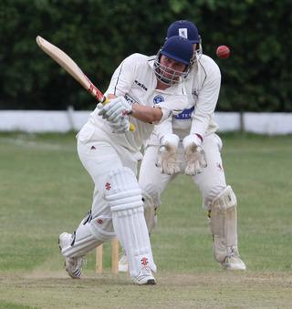 Simon Smith hits another boundary for Hanborough against Kingston Bagpuize