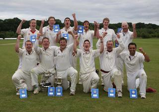Shrivenham celebrate their victory over Garsington