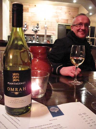 Chef Mark Bradbury tastes the Omrah Chardonnay.