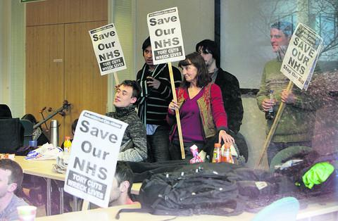 Sit-in protest over NHS reforms