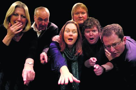 Shocking sight . . . Cast members, from left: Geraldine McTier (Madame Boeuf), David Hodson (Monsieur Papillon), Andrea Mardon (Daisy), Michael Ward (Bérenger), Tristan Kear (The Gent), John Hawkins (Dudard)