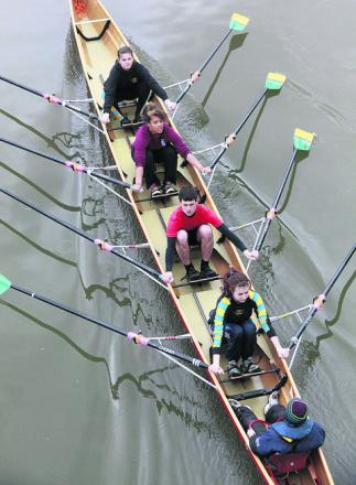 Falcon Rowing Club's Anna McCrae, Alexandra Waring, Matt Timms, Alice Roberts and Chris Headland in action