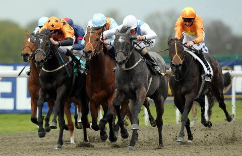 Laugh Out Loud (centre) wins at Kempton last time out