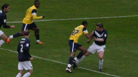 The controversial moment from Saturday's game against Southend as United's Cristian Montano goes over