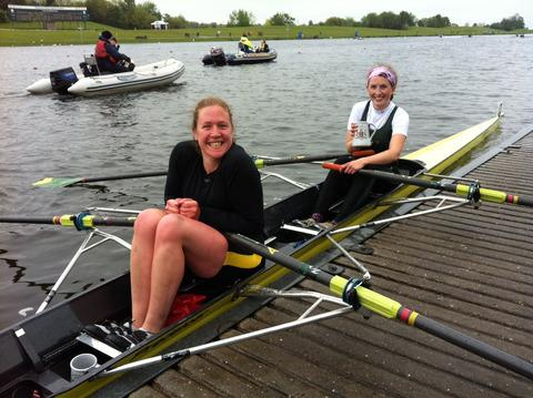 Abingdon's Clare Doubleday (left) and Sarah Marshall celebrate their success at Nottingham