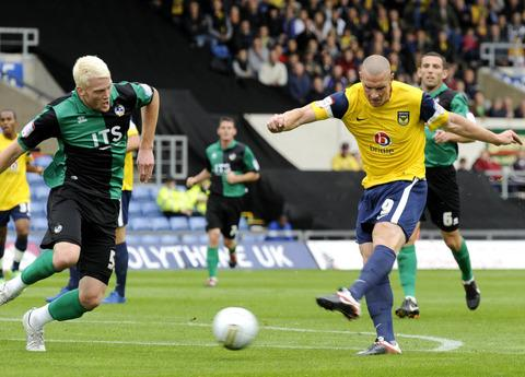 James Constable scoring against Bristol Rovers last season