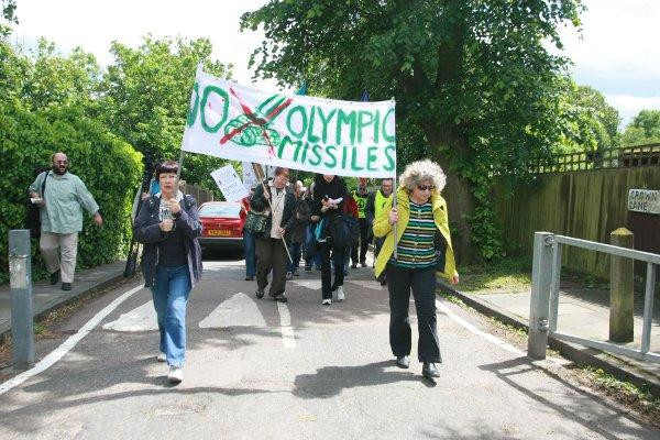Protesters march against surface-to-air missiles from Oxleas Wood to Blackheath
