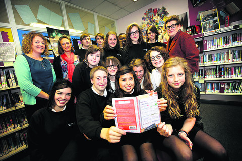 Larkmead pupils with the book