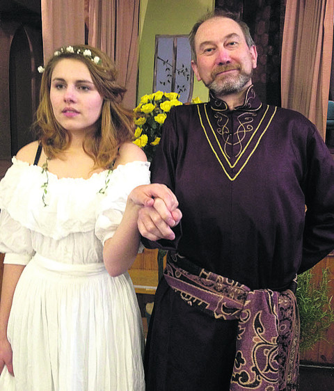 Bard comedy . . . Hero and Don Pedro, played by Croin Lawfull and Doug Amos, in Didcot Phoenix's production of Much Ado About Nothing