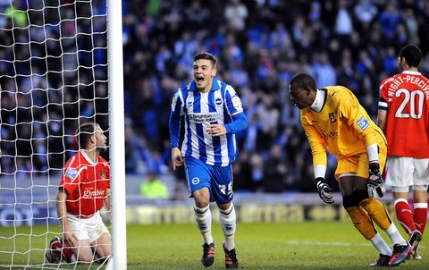 Jake Forster-Caskey celebrates scoring for Brighton against Wrexham last season