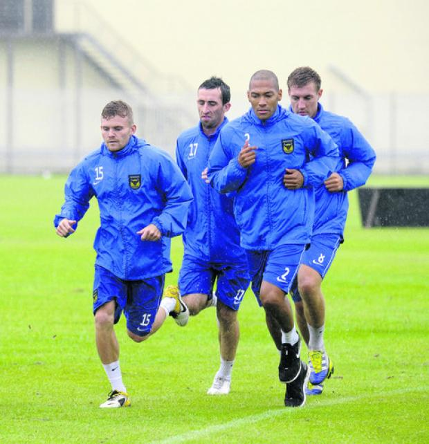 Alfie Potter (left) starts pre-season training with Tony Capaldi (No 17), Damian Batt (No 2) and Simon Heslop