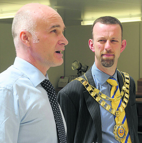 Managing director Andy Whittard with Bicester's mayor Daniel Sames at the opening