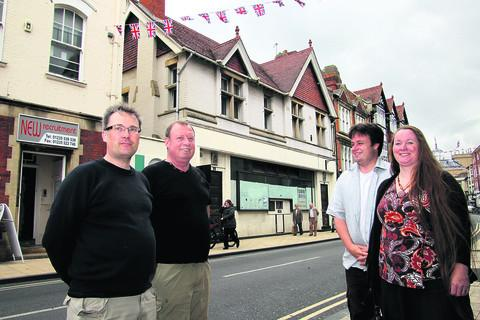 Camra members, from left, Steven Green, David Cogdell, Jonathan Price and Johanne Greenby the old Post Office in Abingdon High Street