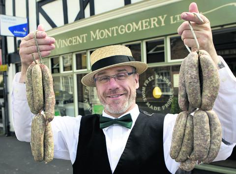 Vince Montgomery with a string of Wantage Sausages