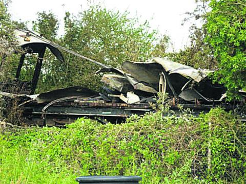 The train carriage destroyed by fire at the Chinnor and Princes Risborough Railway Association centre