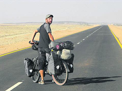 Steve Fabes pictured on his round-the-world cycle ride