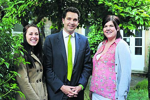 Children's Minister Edward Timpson with care leavers Sammy Lax (left) and Joanne Griffin