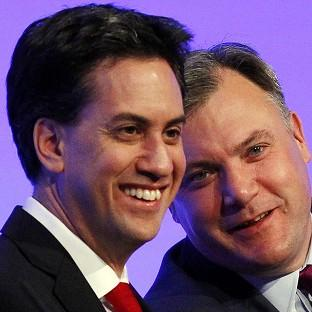 Labour leader Ed Miliband and shadow chancellor Ed Balls at t