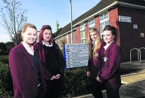 Left to right: Bethany Brogden, Bethany Ray, Chelsea Sleep and Maisie Cox from Didcot Girls' School have launched a campaign to get a speed camera installed on Hadden Hill Road