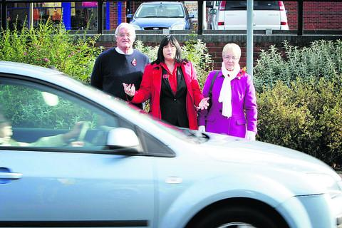 Resident and member of West Wantage Neighbourhood Action Group, Wendy Stimpson, right, waits to cross Limborough Road with Bill Atkinson and councillor Jenny Hannaby