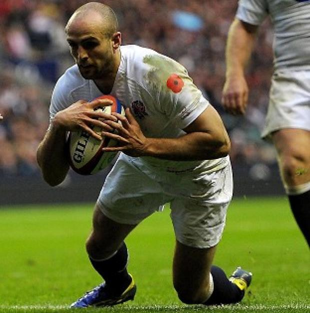 Charlie Sharples scores a try during England's autumn Test with Fiji