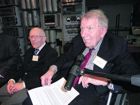 Herald Series: Dick Barnes, 92 and Ted Cooke-Yarborough, 93, at Bletchley Park yesterday, when the computer they helped design, the Dekatron, was switched on again
