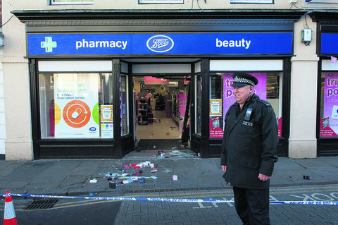 Boots, Wallingford, after the attack