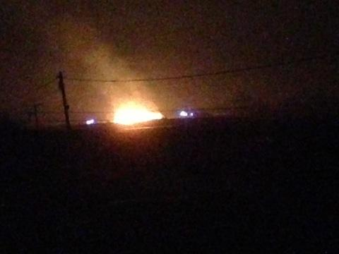 The blaze last night, submitted by reader Leanne Aspinall-Wade