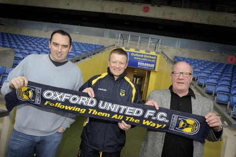 Chris Wilder is introduced as Oxford United manager on December 21, 2008, flanked by Kelvin Thomas and Jim Smith