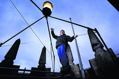Herald Series: Peter White, pictured, a friend of the Folly from Faringdon, created the light on the tower