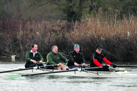 A coxless four during an early morning training session at Abingdon