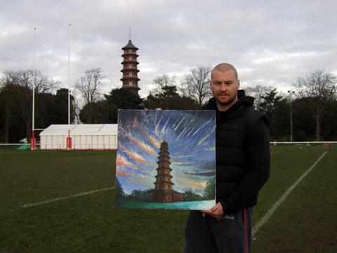 Ed Williamson with his painting of the Kew Gardens Pagoda