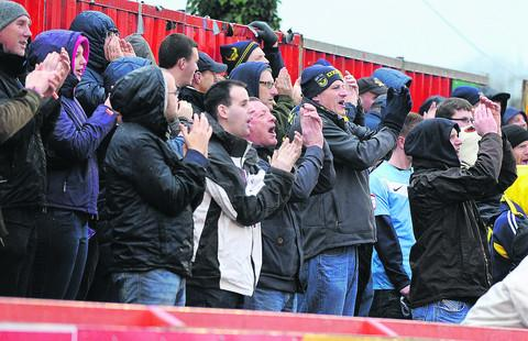 Oxford United supporters at Exeter City on Boxing Day