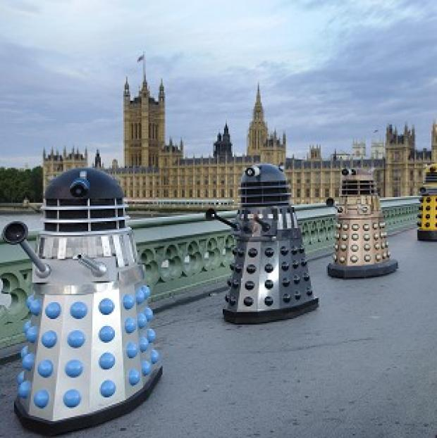 Four generations of Daleks cross Westminster Bridge - the creator of the Doctor Who villains, Raymond Cusick, has died aged 84